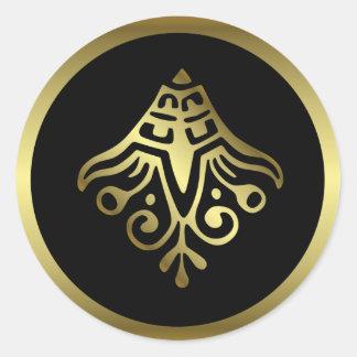 Sticker Rond Mariage élégant de noir et d'or