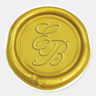 Sticker Rond Mariage élégant d'or de monogramme moderne de cire