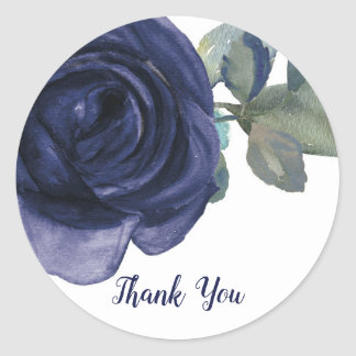 Sticker Rond Mariage floral bleu pourpre d'indigo vibrant vif