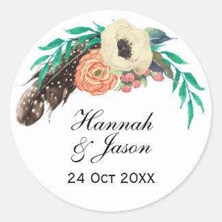 Sticker Rond Mariage floral d'aquarelle de Boho