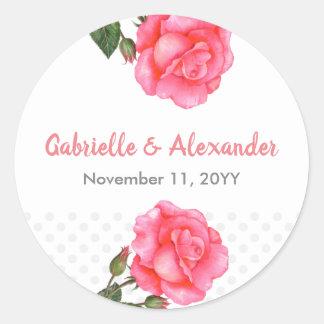Sticker Rond Mariage floral d'art de rose de rose d'aquarelle