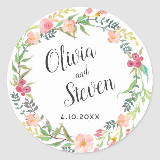 Sticker Rond Mariage floral de guirlande d'aquarelle