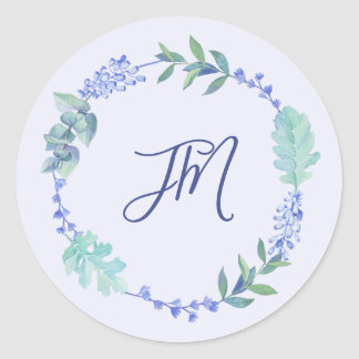 Sticker Rond Mariage floral de monogramme de guirlande de