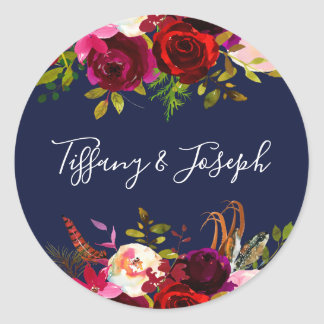 Sticker Rond Mariage floral de partie de fiançailles de
