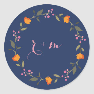 Sticker Rond Mariage floral lunatique de guirlande de