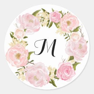 Sticker Rond Mariage floral rose vintage moderne