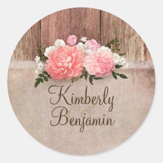 Sticker Rond Mariage floral rustique en bois et de toile de