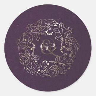 Sticker Rond Mariage floral vintage de guirlande de prune et