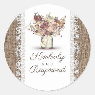 Sticker Rond Mariage floral vintage rustique de toile de jute