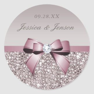 Sticker Rond Mariage gris mauve d'arc de diamants de paillettes