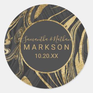 Sticker Rond Mariage gris noir moderne de remous de marbre d'or