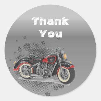 Sticker Rond Mariage grunge rustique de cycliste de Motorcyle