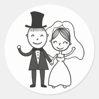 Sticker Rond Mariage marié de jeune mariée et de marié de bande