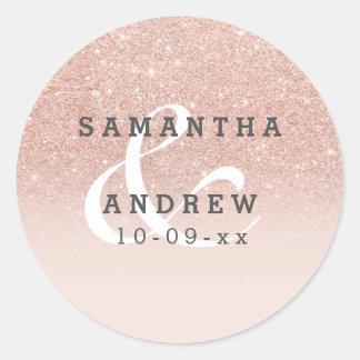 Sticker Rond Mariage rose d'ombre de rose de scintillement de