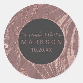 Sticker Rond Mariage rose moderne de remous de marbre d'or de
