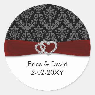 Sticker Rond mariage rouge de damassé de diamante