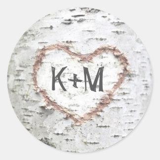 Sticker Rond Mariage rustique de coeur d'écorce de bouleau