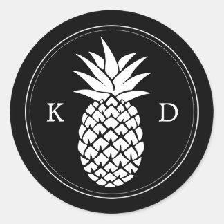 Sticker Rond Mariage tropical d'initiales élégantes d'ananas