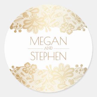 Sticker Rond Mariage vintage de dentelle et d'or et blanc