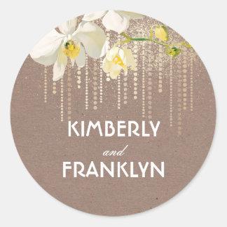 Sticker Rond Mariage vintage d'orchidées de scintillement blanc