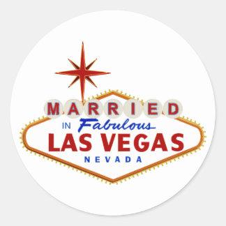 Sticker Rond Marié à Las Vegas fabuleux, enseigne au néon du