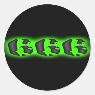 Sticker Rond Marque mauvaise de la bête | Halloween 666