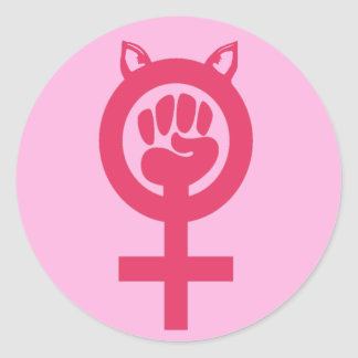 Sticker Rond Mars de poing de rose de chat des femmes