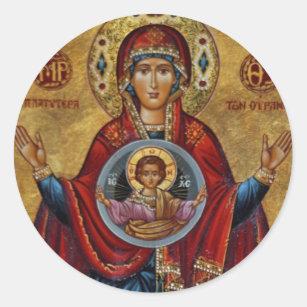 Sticker Rond Mary du 15ème siècle iconique avec l'enfant du