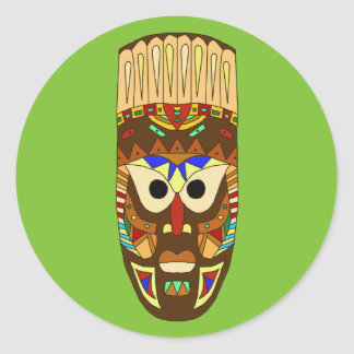 Sticker Rond masque africain traditionnel