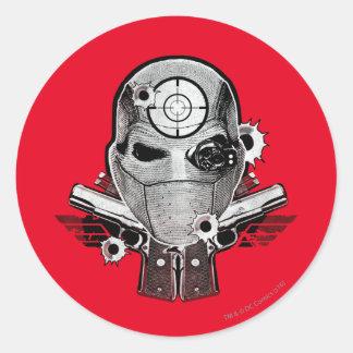 Sticker Rond Masque du peloton   Deadshot de suicide et art de