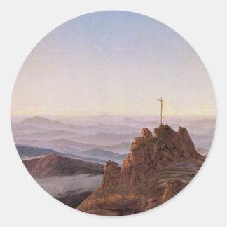 Sticker Rond Matin dans Riesengebirge - Caspar David Friedrich
