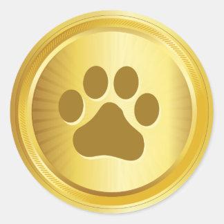 Sticker Rond Médaille d'or de gagnant d'exposition canine