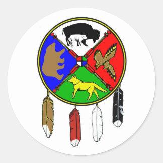 Sticker Rond Medicine Wheel - White Buffalo Woman