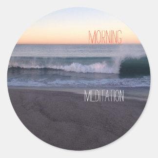 Sticker Rond Méditation de matin