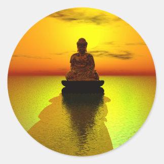 Sticker Rond Méditation d'or 3
