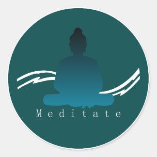 """Sticker Rond """"Méditent"""" beau Bouddha"""