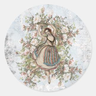 Sticker Rond Mélange floral gitan et match de danse vintage