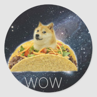 Sticker Rond meme de taco de l'espace de doge