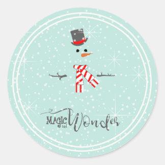Sticker Rond Menthe ID440 de bonhomme de neige de Noël de magie