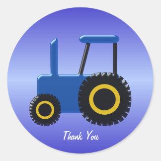 Sticker Rond Merci bleu de tracteur