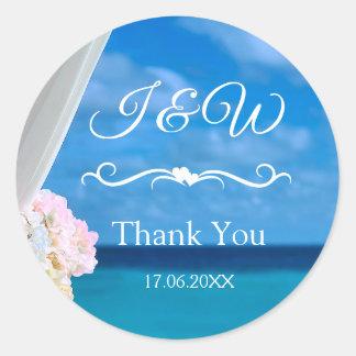 Sticker Rond Merci bleu floral élégant de plage d'océan