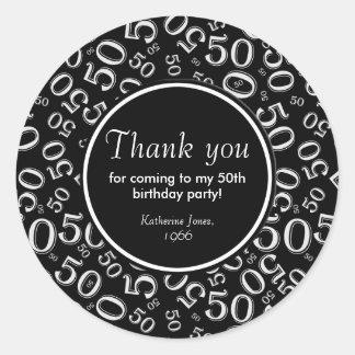 Sticker Rond Merci : Cinquantième fête d'anniversaire noire et