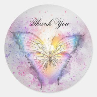 Sticker Rond Merci coloré unique de papillon d'aquarelle
