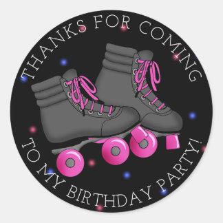 Sticker Rond Merci d'anniversaire de patin de rouleau de la