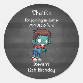 Sticker Rond Merci d'anniversaire de thème de zombi