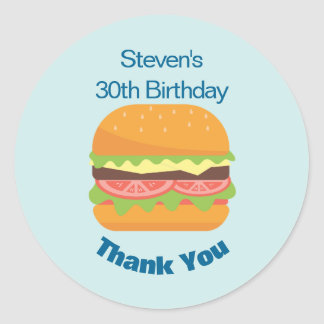 Sticker Rond Merci d'anniversaire d'illustration d'hamburger