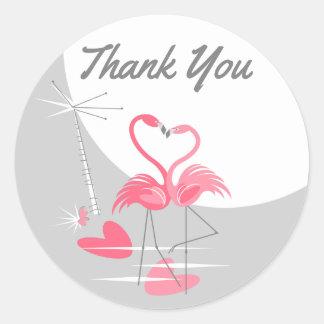 Sticker Rond Merci d'autocollant de lune d'amour de flamant