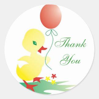 Sticker Rond Merci de canard de bébé