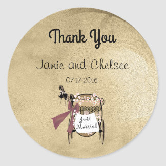 Sticker Rond Merci de chariot et de chevaux