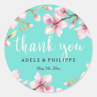 Sticker Rond Merci de fleurs de cerisier d'aquarelle